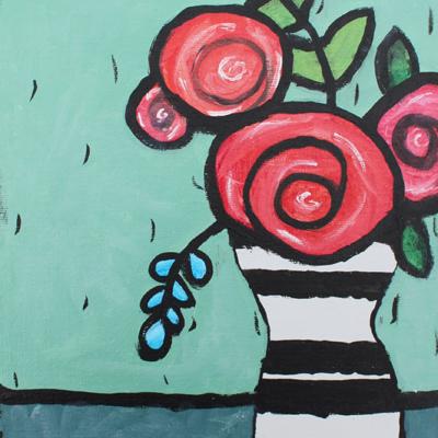 Bouquet - toile 10 x 10