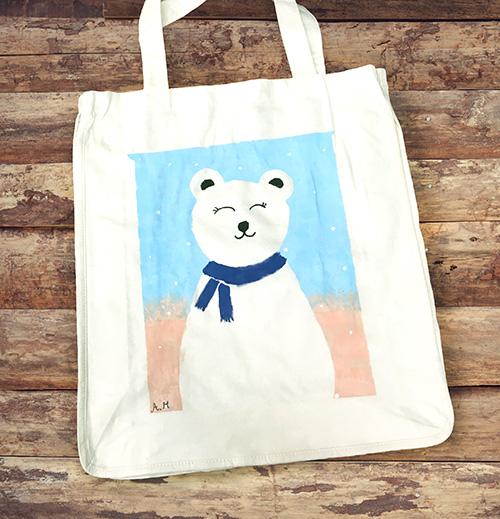 Sac réutilisable avec ours polaire et foulard