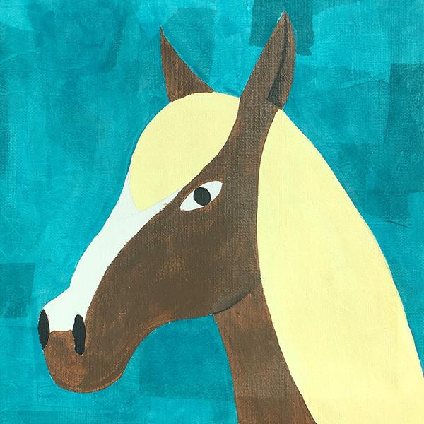 Cheval peint sur toile